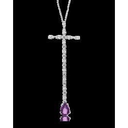 Крест Pasquale Bruni колье с бриллиантами и аметистом
