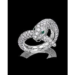 Кольцо с бриллиантом Boucheron  с бриллиантами и изумрудами