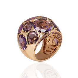 Кольцо MIMI  с аметистами
