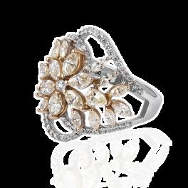 Кольцо с бриллиантом No name  с белыми и желтыми бриллиантами