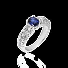 Кольцо с бриллиантом No name  с сапфиром 0,8ct и бриллиантами