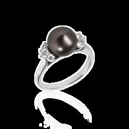 Кольцо с бриллиантом Mikimoto  с черным жемчугом и бриллиантами