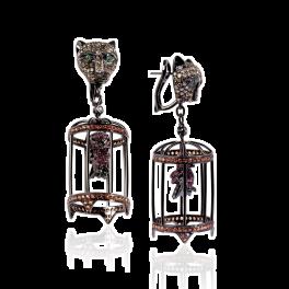 Серьги Stefan Hafner  с бриллиантами, изумрудами и сапфирами