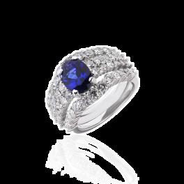 Кольцо с бриллиантом No name  с сапфиром 2,50ct и бриллиантами