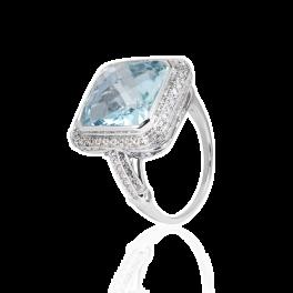 Кольцо с бриллиантом No name  с аквамарином 7,48ct