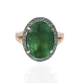 Кольцо с бриллиантом No name  с изумрудом 6,44ct