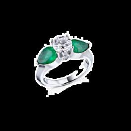 Кольцо с бриллиантом RalfDiamonds  1,10ct J/VS1 и изумрудами