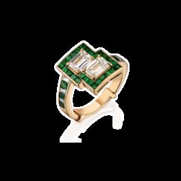 Кольцо с бриллиантом No name  с бриллиантами и изумрудами