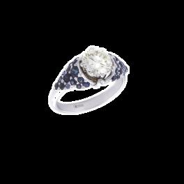 Кольцо с бриллиантом No name  1,52 ct. S-T/VS1 и сапфирами