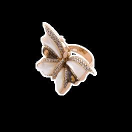 Кольцо с бриллиантом RalfDiamonds  с перламутром и бриллиантами