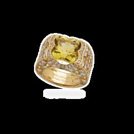 Кольцо с бриллиантом Mauboussin  с бериллом, желтыми сапфирами и бриллиантами