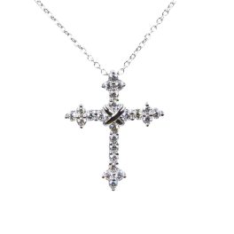 Колье Gianni Lazzaro подвеска крест с бриллиантами 0,71ct