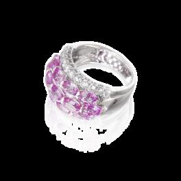 Кольцо с бриллиантом Adler  с сапфирами и бриллиантами
