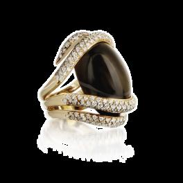 Кольцо с бриллиантом Crivelli  с обсидианом и бриллиантами
