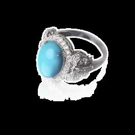 Кольцо с бриллиантом RalfDiamonds  с бирюзой 3,51ct