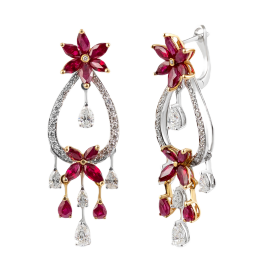 Серьги Arte Diore  с рубинами и бриллиантами