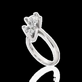Кольцо с бриллиантом No name  с бриллиантами 1,07ct L/SI1- 0,70ct K/VS2