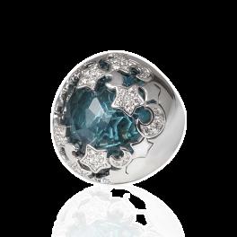 Кольцо с бриллиантом Pasquale Bruni  с топазом и бриллиантами