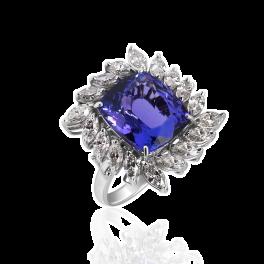 Кольцо с бриллиантом No name  с танзанитом 9,60ct и бриллиантами
