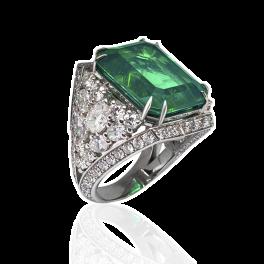 Кольцо с бриллиантом No name  с изумрудом и бриллиантами