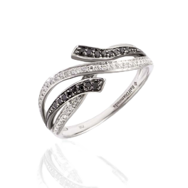 Кольцо с бриллиантом RalfDiamonds  с белыми и черными бриллиантами