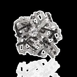 Кольцо с бриллиантом Lorenz Bäumer  с черными и белыми бриллиантами