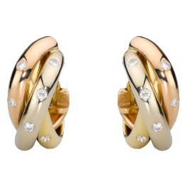 Серьги Cartier Trinity De Diamond 18k Three Tone Gold Hoop Earrings B8031700